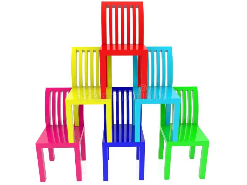 Pirâmide das cadeiras em várias cores ilustração stock