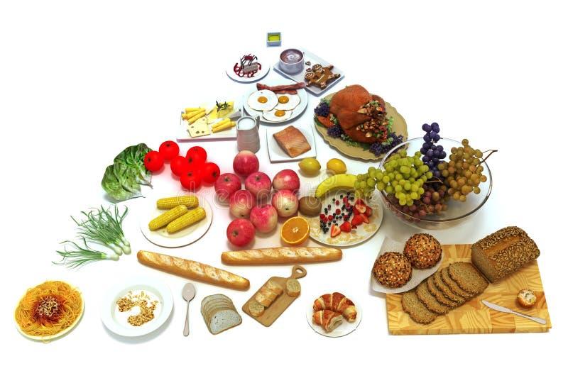 Pirâmide de alimento do conceito de grupos de alimento saudáveis ilustração do vetor
