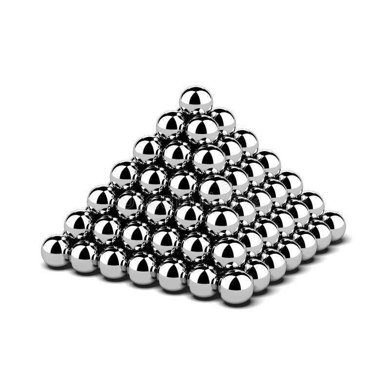 Pirâmide de bolas de metal ilustração do vetor