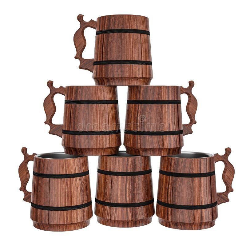 Pirâmide de canecas de cerveja de madeira ilustração do vetor