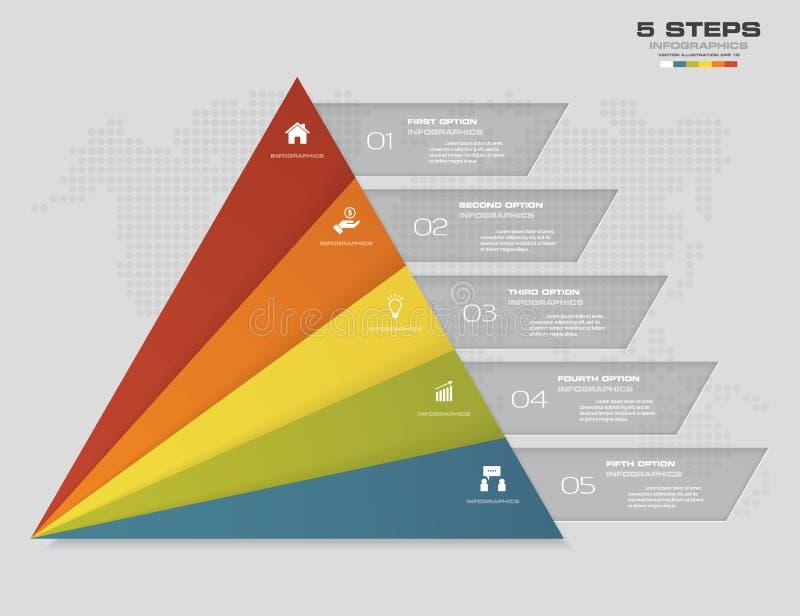 pirâmide de 5 etapas com espaço livre para o texto em cada nível infographics, apresentações ou propaganda ilustração stock