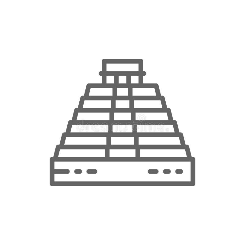 Pir?mide de Kukulkan em Chichen Itza, M?xico, linha ?cone do marco ilustração do vetor