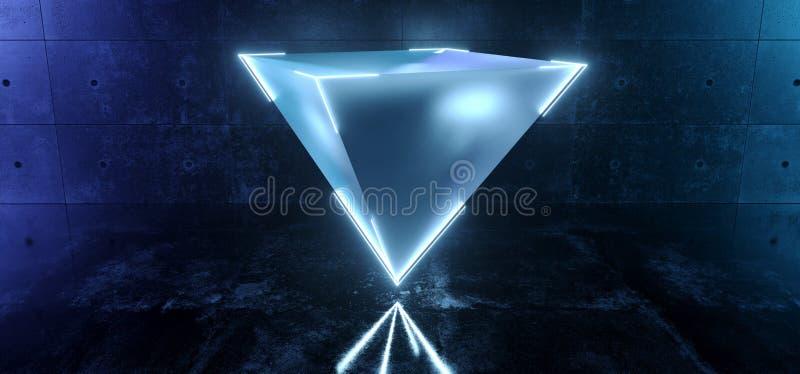 A pirâmide de vidro geada de flutuação moderna elegante de Sci Fi com o de néon de incandescência ataque borda a cor azul no Grun ilustração royalty free