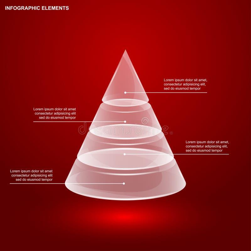 Pirâmide de vidro infographic ilustração do vetor