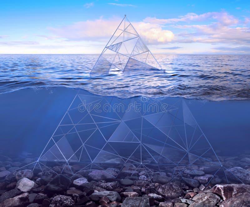 Pirâmide de vidro sob a água ilustração royalty free