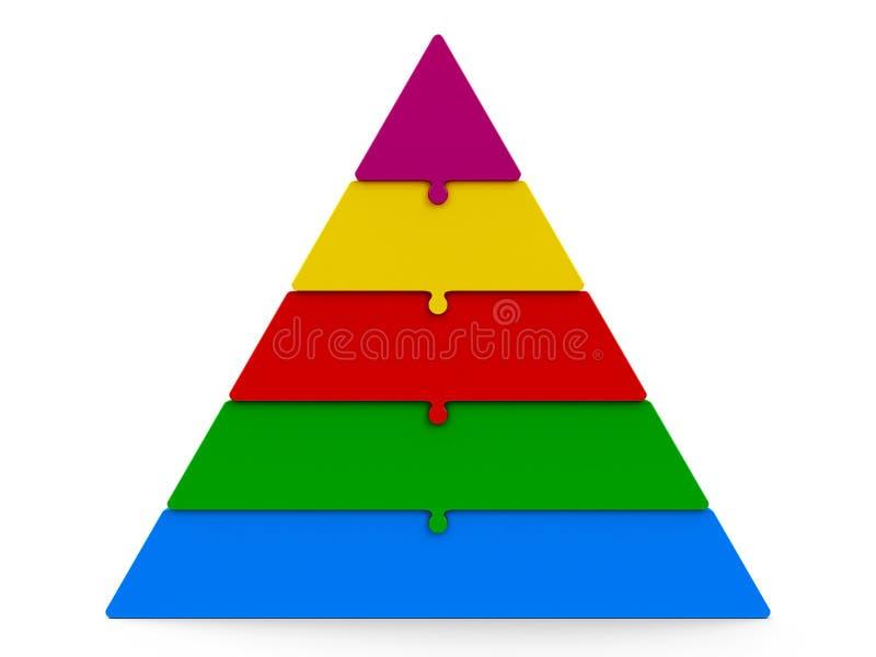 Pirâmide do enigma de cinco cores ilustração stock