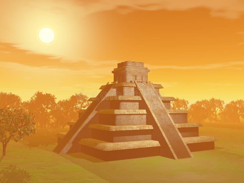 Pirâmide do Maya - 3D rendem ilustração stock