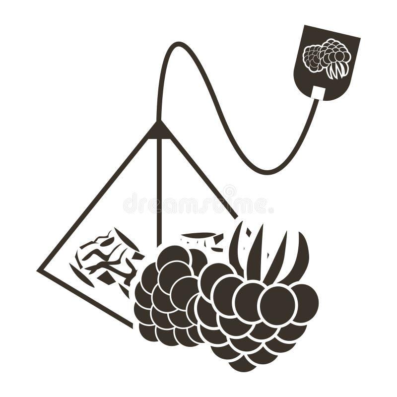 Pirâmide do saquinho de chá do ícone com sabor da framboesa ou da amora-preta Logotipo no estilo liso ilustração do vetor