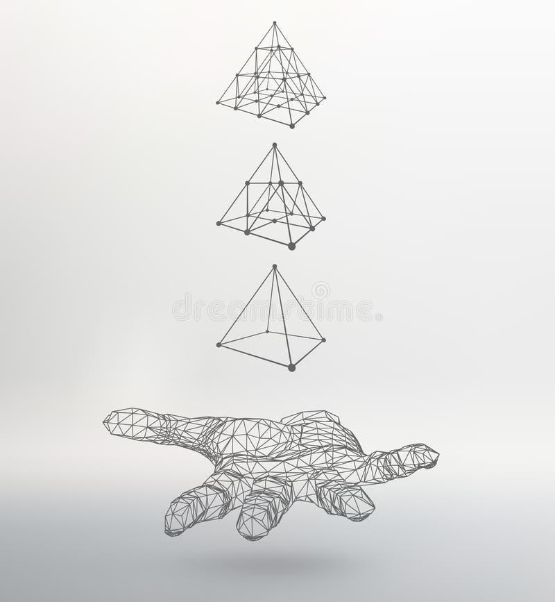 Pirâmide do triângulo no braço A mão que guarda a ilustração stock