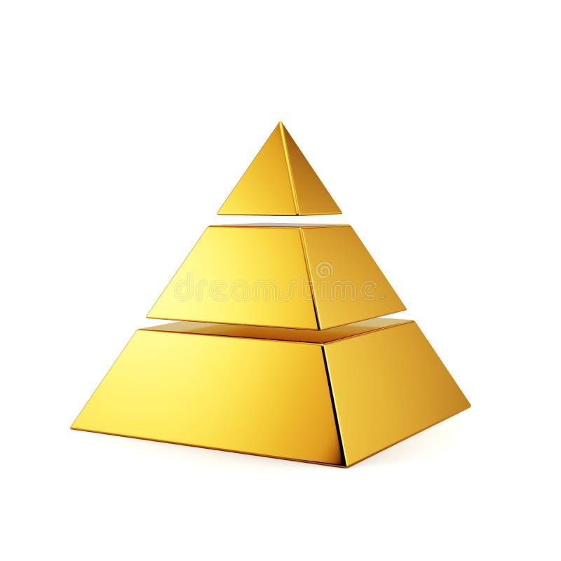 Pirâmide dourada isolada ilustração stock