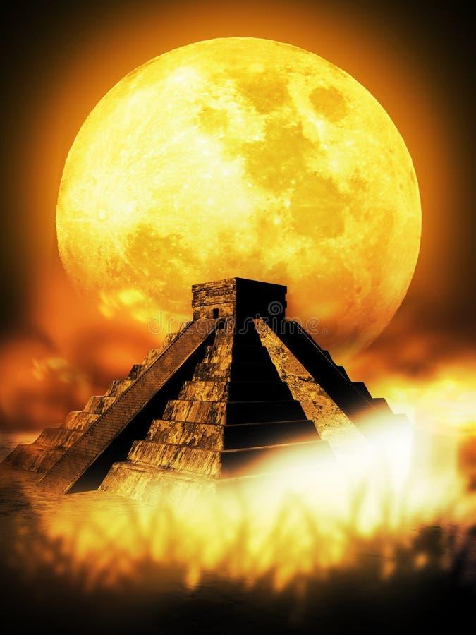 Pirâmide e lua maias ilustração royalty free