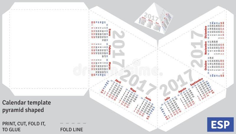 Pirâmide 2017 espanhola do calendário do molde dada forma ilustração do vetor
