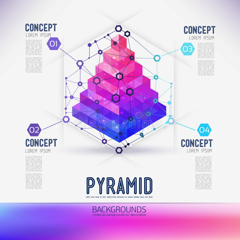 Pirâmide geométrica do conceito abstrato ilustração royalty free