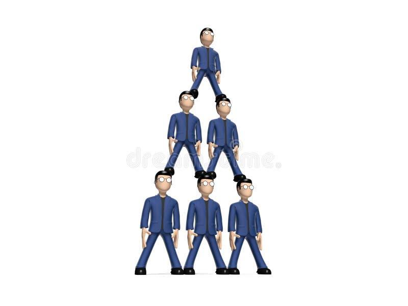 Pirâmide humana dos personagens de banda desenhada 3D ilustração do vetor