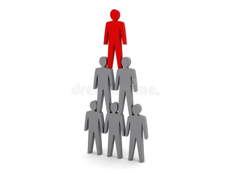 Pirâmide humana. Hierarquia da equipe. Chefe da empresa. ilustração do vetor