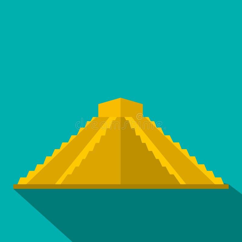 Pirâmide maia ícone em Iucatão, México, estilo liso ilustração do vetor