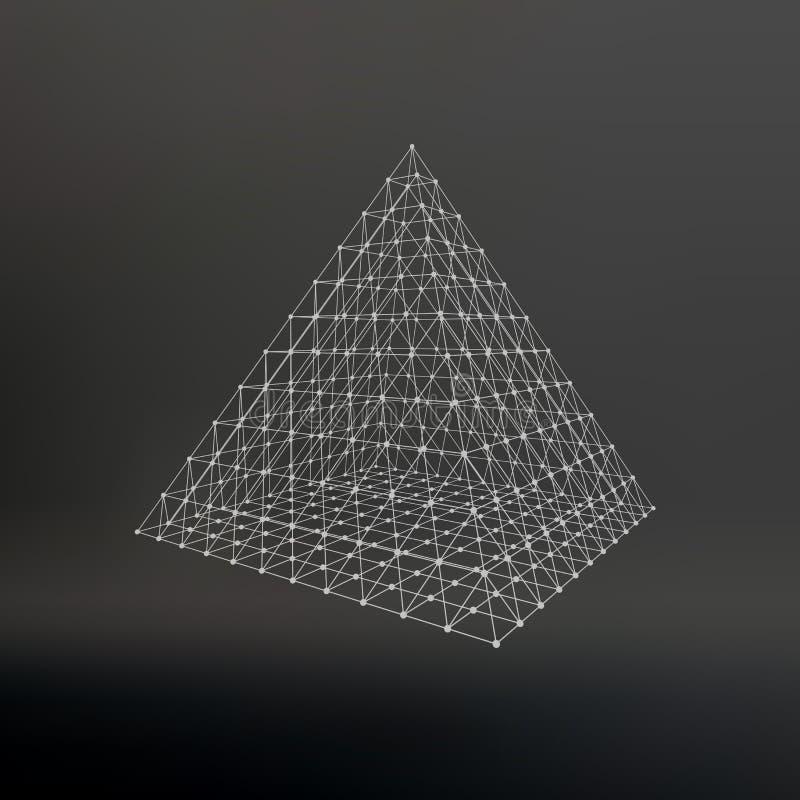 Pirâmide poligonal da malha de Wireframe Pirâmide do ilustração do vetor