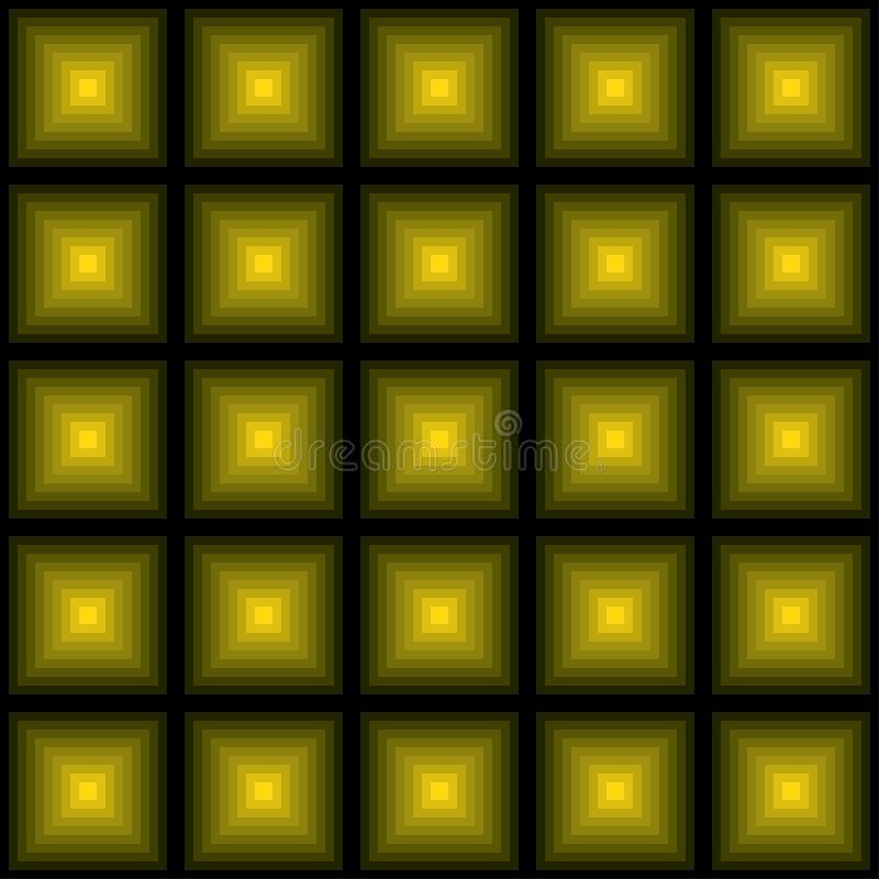 Pirâmide verde-amarela colorida das formas Fundo do disco Teste padr?o sem emenda Fundo de quadrados coloridos ilustração do vetor