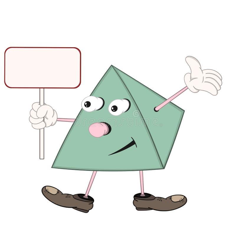 A pirâmide verde engraçada dos desenhos animados nas sapatas realiza em sua mão uma placa retangular e levanta sua mão acima foto de stock