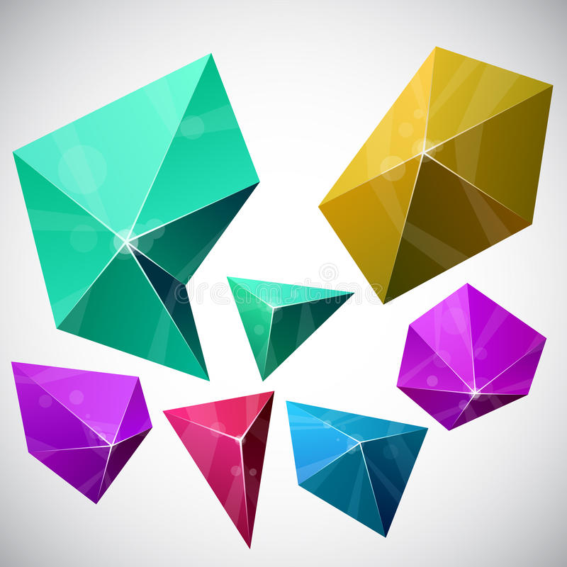 Pirâmide vibrante Polygonal. ilustração do vetor