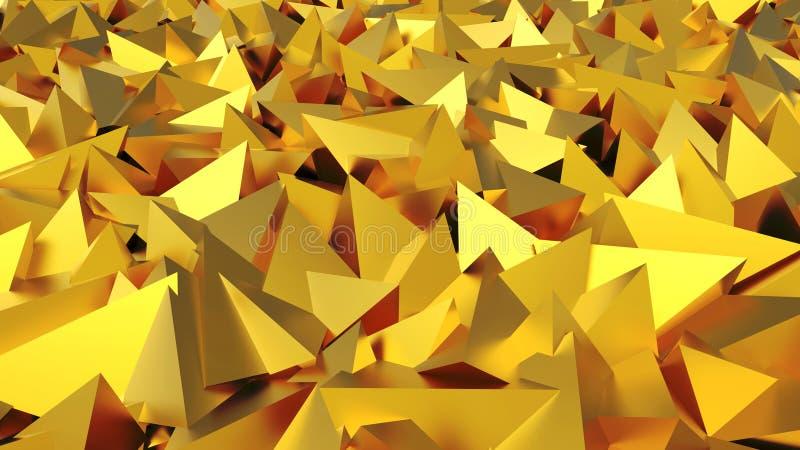 Pirâmides 3D douradas abstratas ilustração do vetor