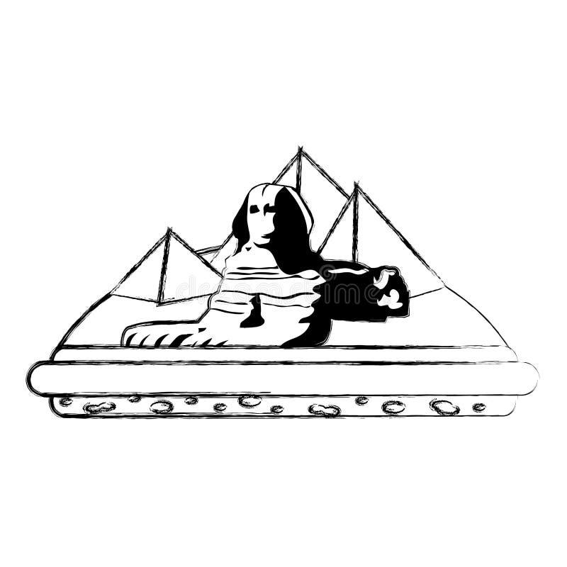 Pirâmides da arquitetura da escultura de giza Egito do Grunge ilustração stock