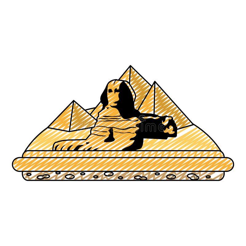 Pirâmides da arquitetura da escultura de giza Egito da garatuja ilustração stock