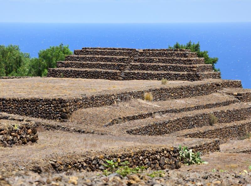 Pirâmides de Guimar da etapa de Guanches, Tenerife fotografia de stock