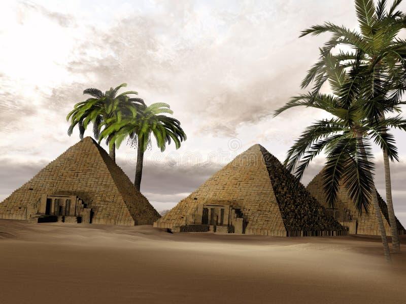 Pirâmides do Egyptian da fantasia ilustração do vetor