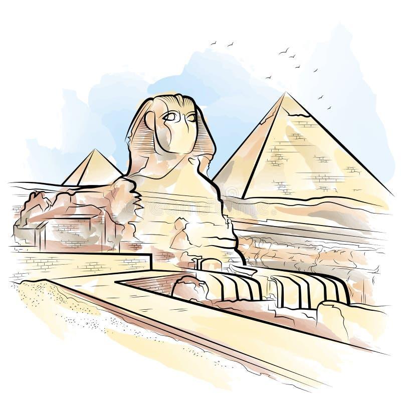 Piramides E Esfinge Da Cor De Desenho Em Giza Egito Ilustracao Do