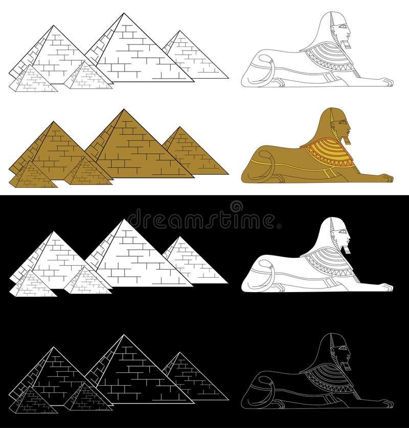 Pirâmides e esfinge Estilo étnico africano na ilustração preta, branca e de cor ilustração royalty free