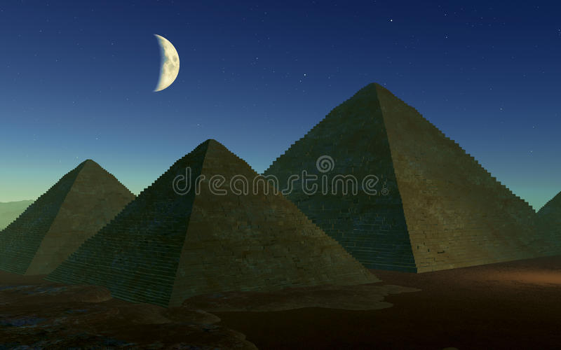 Pirâmides egípcias na noite ilustração do vetor