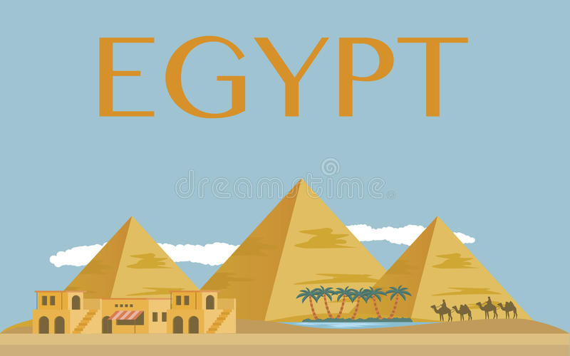 Pirâmides egípcias no deserto ilustração stock