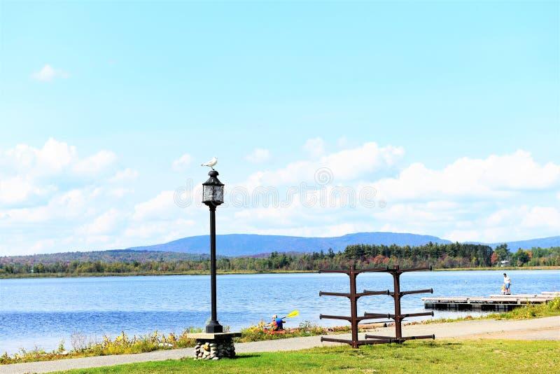 Pir för strandpromenad för Adirondack tuppersjö arkivbild