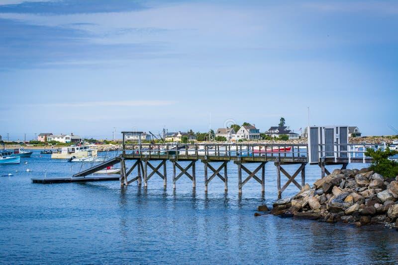 Pir i råghamn, i råg, New Hampshire royaltyfria bilder