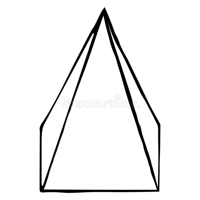 Pir?mide cuadrada Bosquejo, dibujo de la mano Esquema negro en el fondo blanco Ilustraci?n del vector stock de ilustración