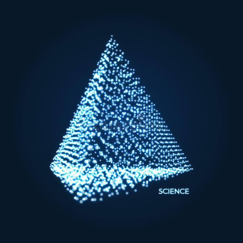 pir?mide Objeto com pontos Grade molecular estilo da tecnologia 3D com part?cula Ilustra??o do vetor Estrutura futurista da conex ilustração stock
