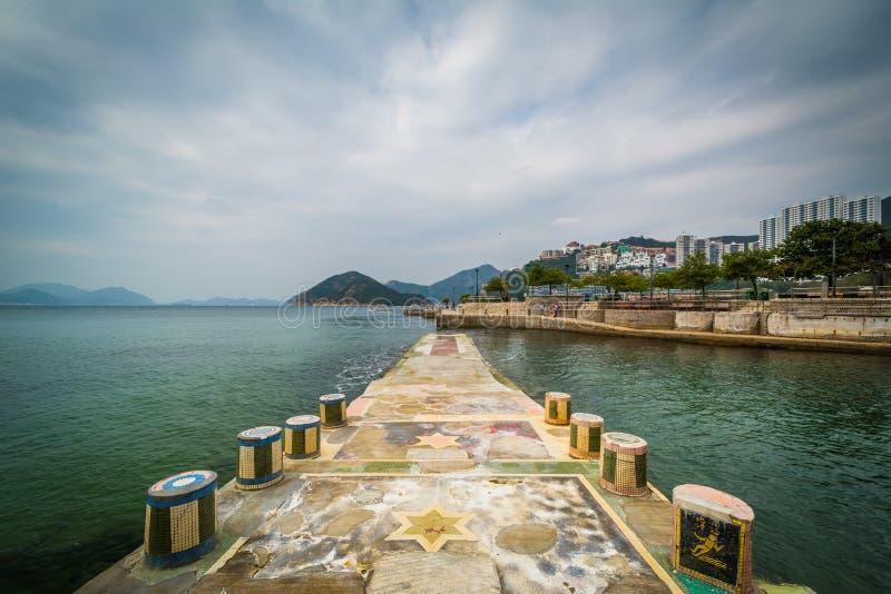 Pir på avvvisandefjärden, i Hong Kong, Hong Kong arkivfoto