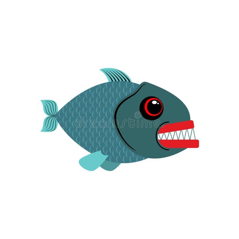 Piraña aislada Vea los pescados depredadores en el fondo blanco libre illustration