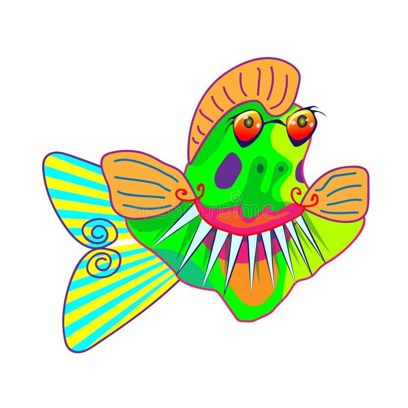 Piraña divertida de la historieta, ejemplo de los pescados del pacu Aislante agresivo del símbolo en el fondo blanco Elemento par stock de ilustración