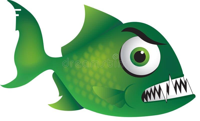 Piraña verde mala ilustración del vector