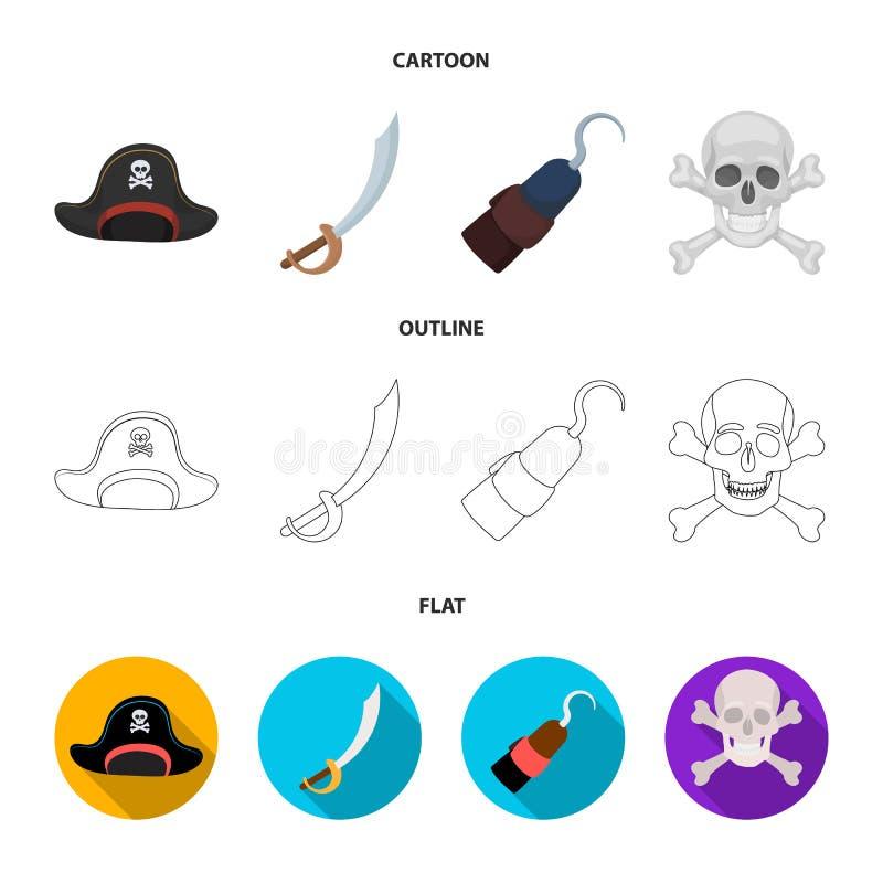 Piraat, bandiet, GLB, haak De piraten geplaatst inzamelingspictogrammen in beeldverhaal, schetsen, vlakke de voorraadillustratie  stock illustratie