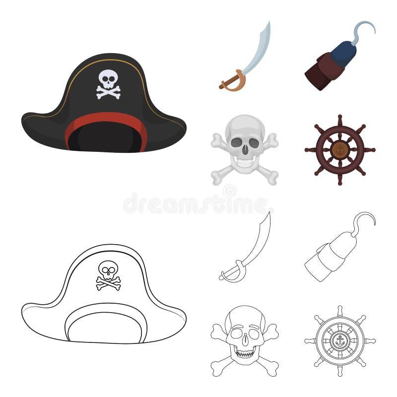 Piraat, bandiet, GLB, haak De piraten geplaatst inzamelingspictogrammen in beeldverhaal, schetsen Web van de de voorraadillustrat vector illustratie