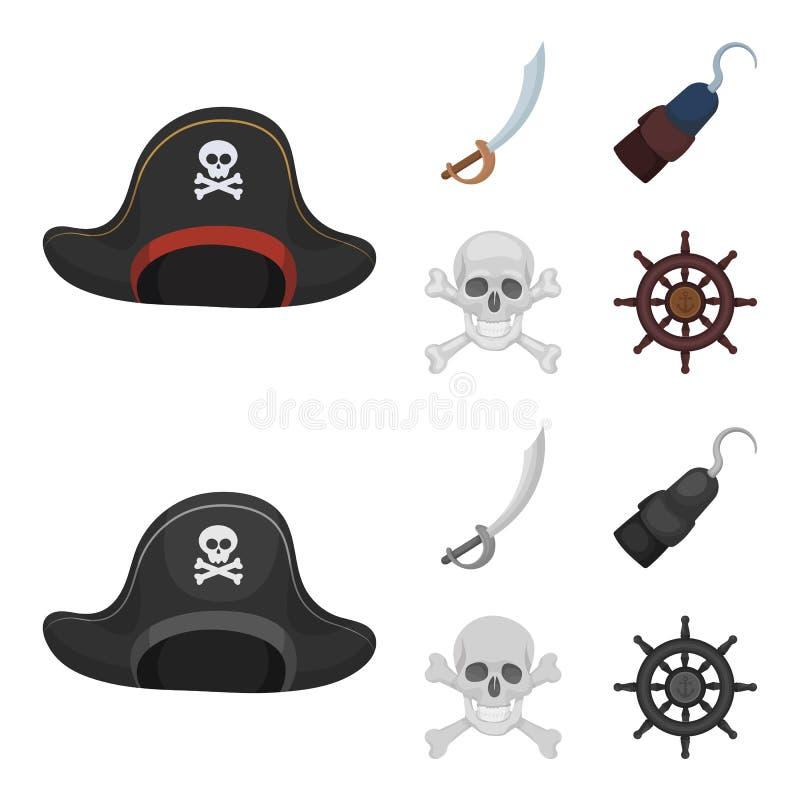 Piraat, bandiet, GLB, haak De piraten plaatsen inzamelingspictogrammen in beeldverhaal, het zwart-wit Web van de de voorraadillus stock illustratie