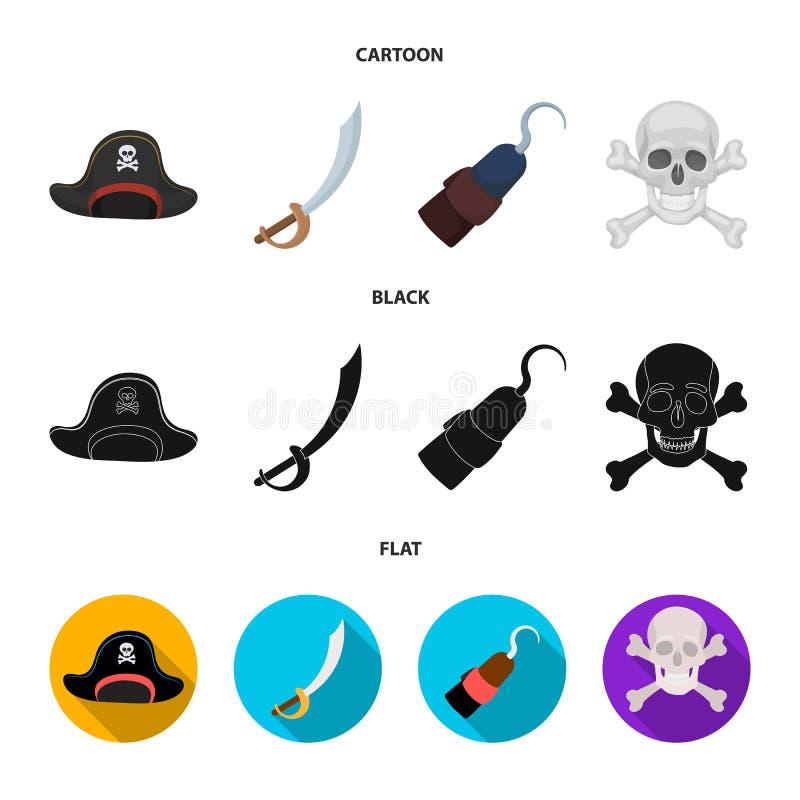 Piraat, bandiet, GLB, haak De piraten plaatsen inzamelingspictogrammen in beeldverhaal, het zwarte, vlakke Web van de de voorraad stock illustratie