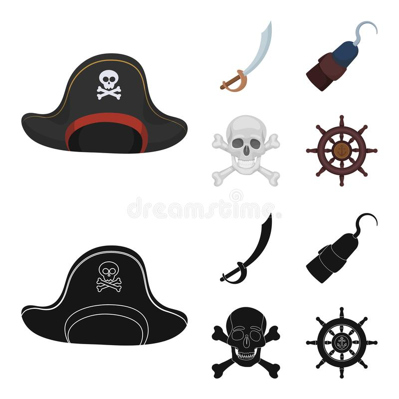 Piraat, bandiet, GLB, haak De piraten plaatsen inzamelingspictogrammen in beeldverhaal, het zwarte Web van de de voorraadillustra stock illustratie