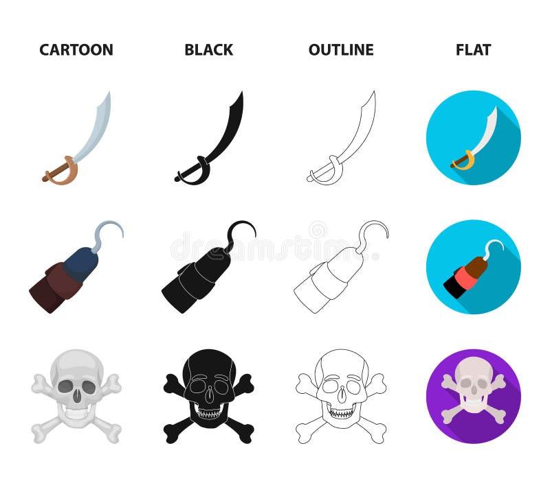 Piraat, bandiet, GLB, haak De piraten plaatsen inzamelingspictogrammen in beeldverhaal, zwarte, overzicht, de vlakke voorraad van royalty-vrije illustratie