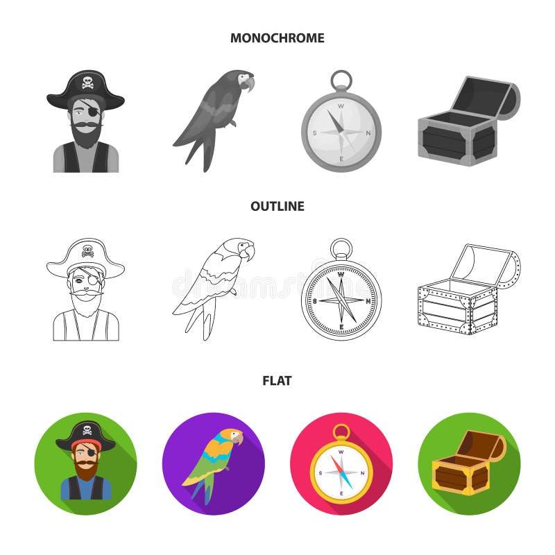 Piraat, bandiet, hoed, verband De piraten geplaatst inzamelingspictogrammen in vlakte, schetsen, de zwart-wit voorraad van het st vector illustratie