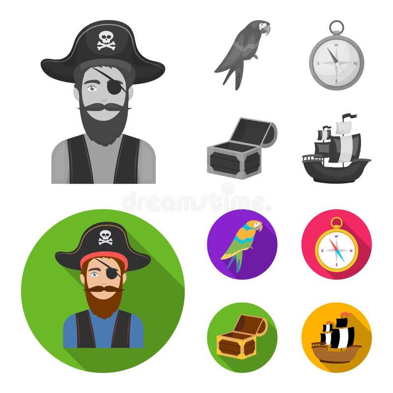 Piraat, bandiet, hoed, verband De piraten plaatsen inzamelingspictogrammen in het zwart-wit, vlakke Web van de de voorraadillustr royalty-vrije illustratie