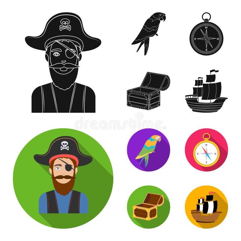 Piraat, bandiet, hoed, verband De piraten plaatsen inzamelingspictogrammen in het zwarte, vlakke Web van de de voorraadillustrati stock illustratie